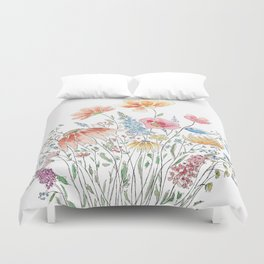 wild flower bouquet and blue bird- ink and watercolor 2 Duvet Cover