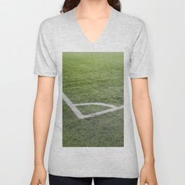 Corner football field, Corner chalk mark artificial grass soccer field Unisex V-Neck