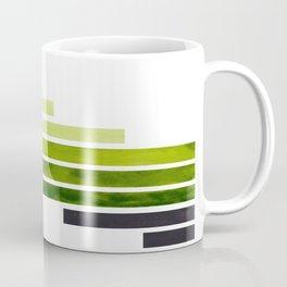 Sap Green Midcentury Modern Minimalist Staggered Stripes Rectangle Geometric Pattern Watercolor Art Coffee Mug