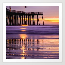 Ocean Pier and California Sunset 1x1 Art Print
