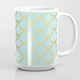 Aqua Teal And Gold Foil MermaidScales - Mermaid Scales Coffee Mug