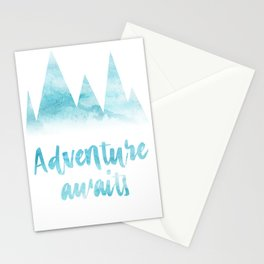 Adventure awaits blue watercolor Stationery Cards