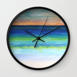 White Beach at Sunset Wall Clock
