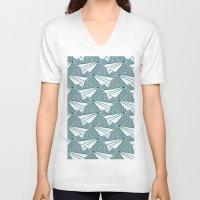 planes V-neck T-shirts featuring paper planes by blacksparrow