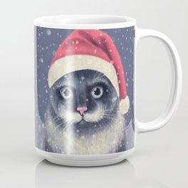 Christmas cat with a mustache Coffee Mug