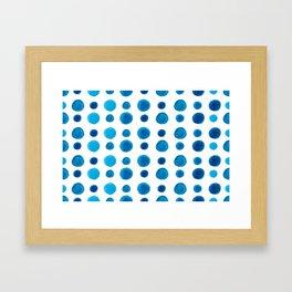Watercolor blue dots Framed Art Print