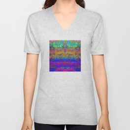 Bright Rainbow Colored Half Mandala Design Unisex V-Neck