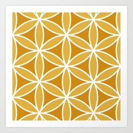 Flower of Life Large Ptn Oranges & White Art Print