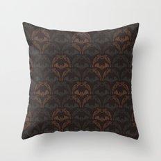 Bat Damask Throw Pillow