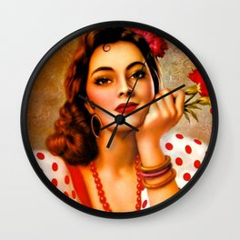 Mexican Sevillana Calendar Girl by Jesus Helguera Wall Clock
