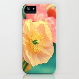 Vintage Pastel Poppies in Golden & Peach tones iPhone Case