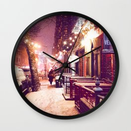 Winter Night with Snow in the East Village New York City Wall Clock