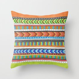 brightly colored patterned stripes Throw Pillow