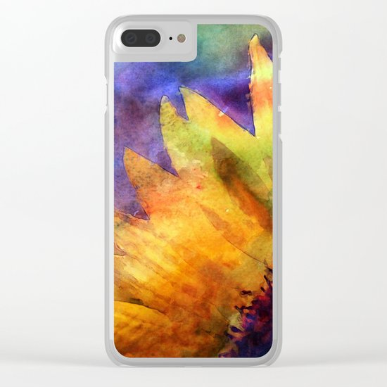 Sunflower Flower Floral on colorful watercolor texture Clear iPhone Case