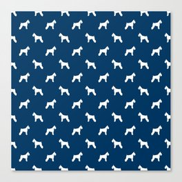 Schnauzer blue dog silhouette dog pattern dog breed pet art dog lover schnauzers Canvas Print