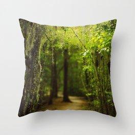 Louisiana Forest, Spanish Moss Throw Pillow