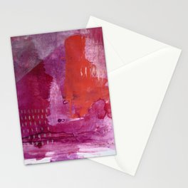 Bright and Alive: an abstract mixed-media piece in purples and reds by Alyssa Hamilton Art Stationery Cards