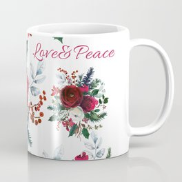 Red burgundy Christmas season floral bouquets love and peace script Coffee Mug