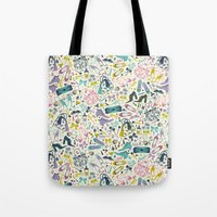 heels Tote Bags featuring Heels and Handbags (sweet) by Anna Deegan