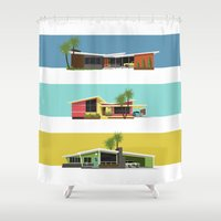 mid century modern Shower Curtains featuring Mid Century Modern Houses 2 by MidPark Prints