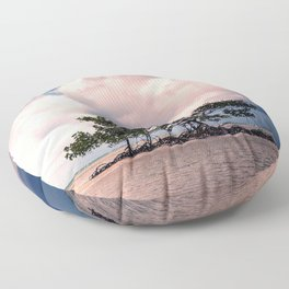 Small Trees on Floating Island Under Stormy Sky Floor Pillow