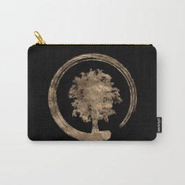 Enso Zen Circle and Tree - Gold on black Carry-All Pouch
