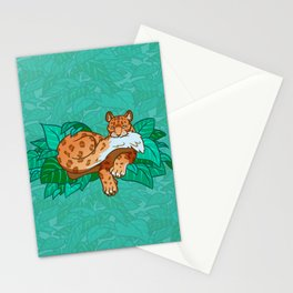 Snow Leopard Nomming Its Fluffy Tail Stationery Cards