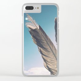 Brown Feathers Clear iPhone Case