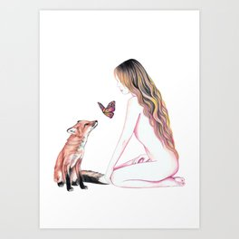 Red Foxes Art Print