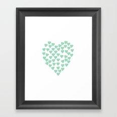 Hearts Heart Mint Framed Art Print