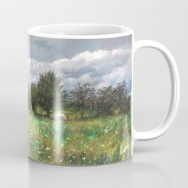 Landscape of nature with a white horse Coffee Mug