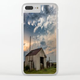 August Eve - Storm Sky Over Old Barn in Oklahoma Clear iPhone Case