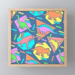 Nineties Dinosaur Pattern Framed Mini Art Print