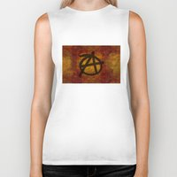 anarchy Biker Tanks featuring Distressed Anarchy by Bruce Stanfield