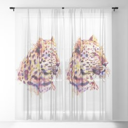 Leopard Head Sheer Curtain