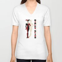 harley quinn V-neck T-shirts featuring Harley Quinn by Lily's Factory
