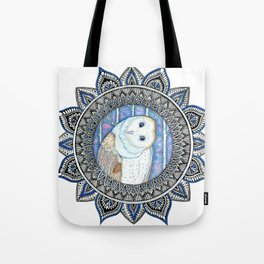 Winter Barn Owl Mandala Tote Bag