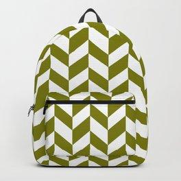 HERRINGBONE (OLIVE & WHITE) Backpack