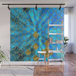 Blue Aqua Turquoise And Gold Glitter Mermaid Scales -Beautiful Mermaidscales Pattern Wall Mural