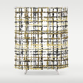 Black and Gold Loose Plaid Shower Curtain
