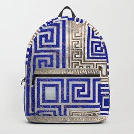 Greek Key Ornament - Lapis Lazuli and Gold #2 Backpack