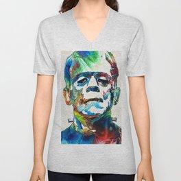 Frankenstein Art - Colorful Monster - By Sharon Cummings Unisex V-Neck