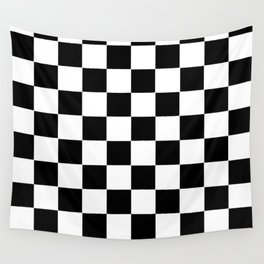 Checker Cross Squares Black And White Wall Tapestry