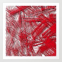 wild red lines Art Print