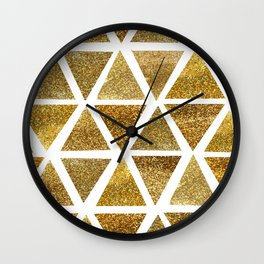 Gold Watercolor Triangles Pattern Wall Clock