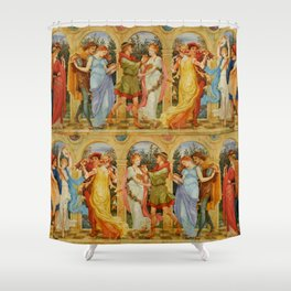 "Walter Crane ""The Dance of the Five Senses"" Shower Curtain"