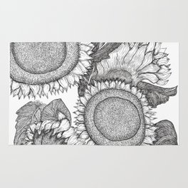 Sunflowers Black and White Ink Drawing Rug