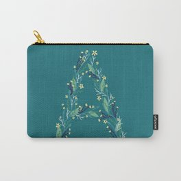 Turquoise flowers alphabet A Carry-All Pouch