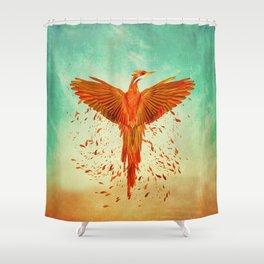 Phoenix Rising -Mixed media Shower Curtain