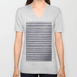 Violet gray silver watercolor brushstrokes stripes Unisex V-Neck